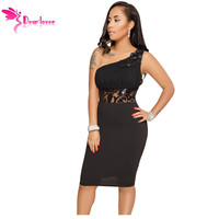 Dear Lover Party Dresses 2018 Women Sexy Black One Shoulder Sleeveless Embroidered Midi Bodycon Dress Vestido