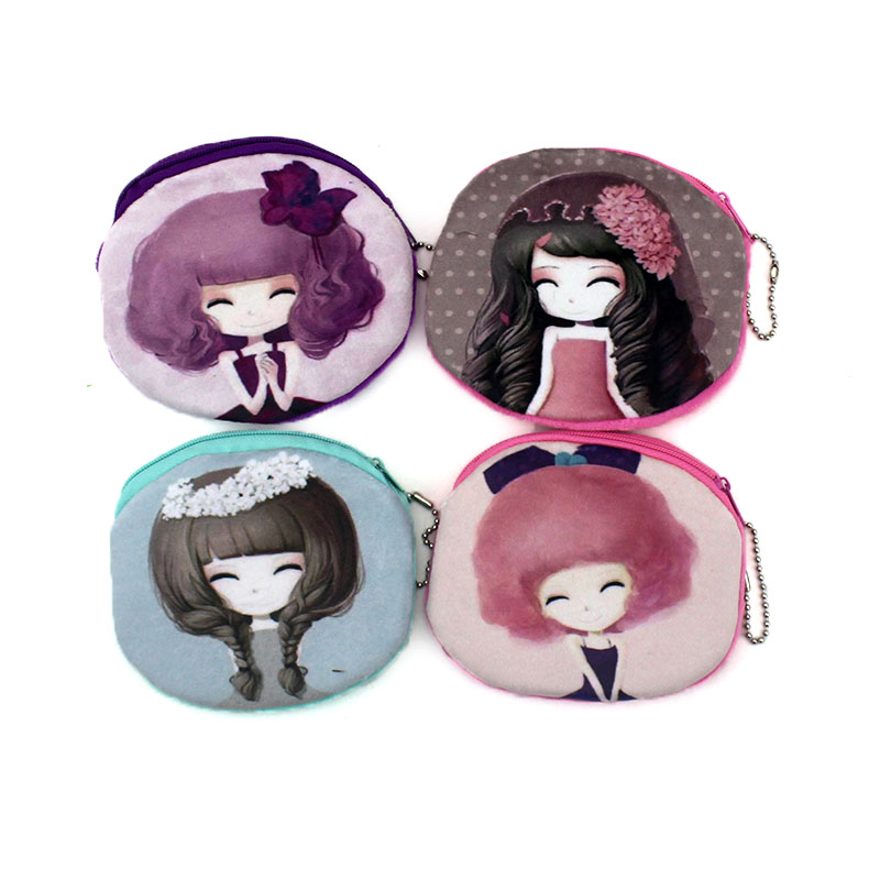 Fashion Oval Cartoon Long Hair Girls Zipper Coin Bags Women Mini Storage Pouch Children Cute Wallet Kids Coin Purses Card Holder waterproof cartoon cute thermal lunch bags wome lnsulated cooler carry storage picnic bag pouch for student kids