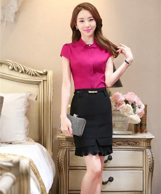 Novidade Rosa Formal Mulheres de Negócios Ternos Estilos Uniformes Moda Profissional Fino Blusas E Saia Das Senhoras Tops Camisas Conjuntos