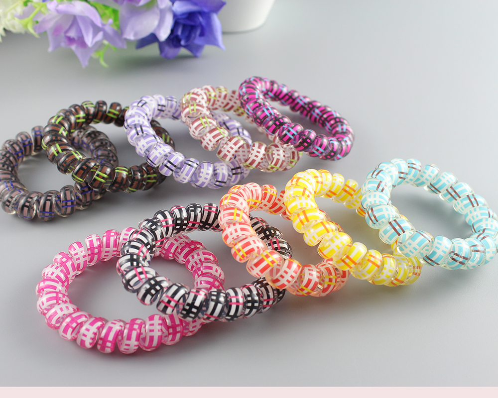 10pcs/lot Telephone Cord Hair Tie Elastic Rubber Bands For Girl Ponytail Holders Hair Gum Hair Scrunchies for Women