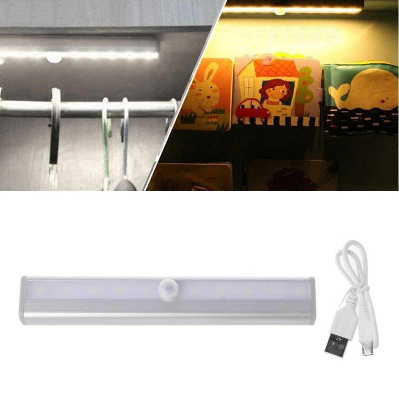 YAM Wireless PIR Motion Sensor 10 LED USB Rechargeable Night Light Drawer Cabinet Wardrobe With Flexibility and Good Brightness isrotel yam suf ex ambassador 4 эйлат