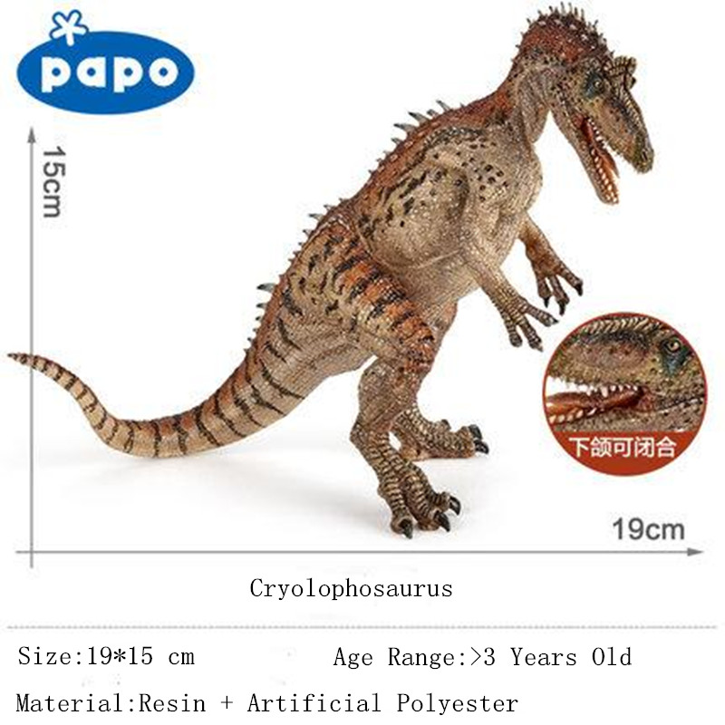 Natural Resin Simulation Dinosaur Model Papo Brand Garage Kids Cryolophosaurus Action Figures Mouth Movable Kids Toys Collection brand papo animals decoration animal owl bird resin model puppets kids toy action figure doll adult children study safe toys
