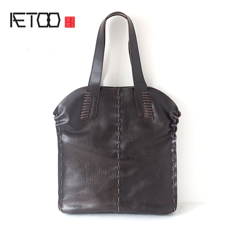 AETOO The new first layer of leather bag package Europe and the United States retro large capacity handbags women messenger bag europe and the united states simple geometric pattern hand bag head layer of leather in the long wallet multi card large capacit