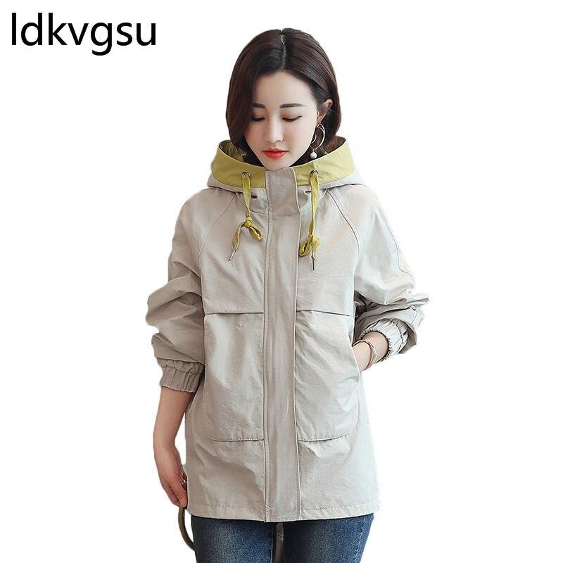 Manteau léger court femme 2019 manteau femmes lâche manches longues Chaqueta décontracté à capuche veste printemps abrigo con capucha mujer f099