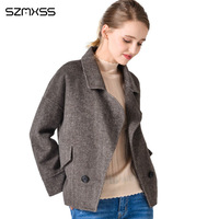 2018 autumn and winter women jackets double sided cashmere cardigan coat lapel solid color one button loose Jacket