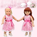 Free Shipping 18 inches American Girl Doll Clothes Pink Silk with Lace Cover Dress Best Toys For Girl Hot Sale Style