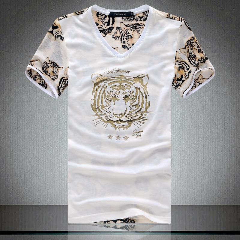 9dc605c38 Fashion Tiger Golden Printed Short Sleeve V Neck T Shirt Men Mesh Hollow  Out Patchwork Summer T-shirt Camisetas Hombre 11AK041