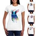 2016 Лето Женщины Новинка футболка Мода Красочные Сова Дизайн Топы Горячие Рубашки dollyFine