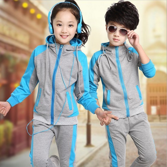 2018 New Children Autumn Clothing Sets Boys Girls Casual Splicing