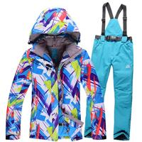 Newest 2016 Windproof Womens Snowboarding Jacket And Pant Winter Warm Thicken Ski Clothing Sets Waterproof Snow