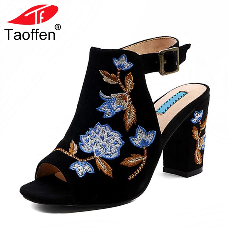 TAOFFEN Women High Heel Sandals Real Leather Open Toe Buckle Thick Heel Ladies Summer Shoes Floral For Party Footwear Size 34-39 taoffen women high heels sandals real leather peep toe shoes women buckle clear thick heel sandals daily footwear size 34 39