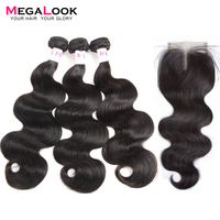 Megalook Brazilian Hair Bundles With Closure 3pcs Body Wave Remy Hair with Closure Natural Color