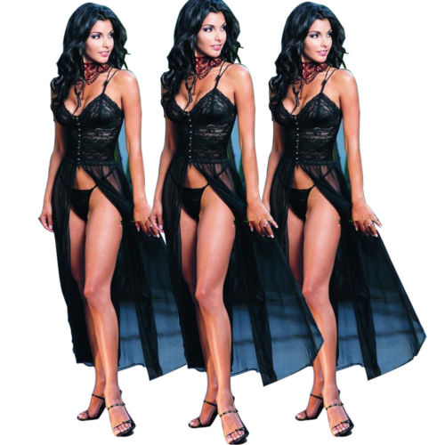 Sexy Women Nigh Club Lingerie Long Gown T-back Dress Sheer Sleepwear Robe Latest Nightgowns Panties Set