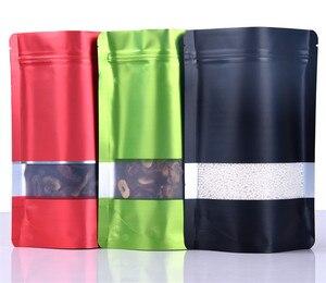 Image 5 - Leotrusting 100pcs Stand up Nero Opaco Foglio di Alluminio Finestra Zip Serratura Sacchetto di Caffè In Polvere Sacchetto di Immagazzinaggio Finestra Smerigliato Noci sacchetto del regalo