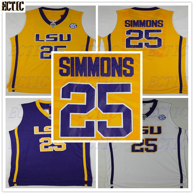 05279d9cf46 2018 ECTIC Ben Simmons  25 LSU White Purple Yellow Retro Throwback Stitched  Basketball Jersey Sewn Camisa Embroidery Logos