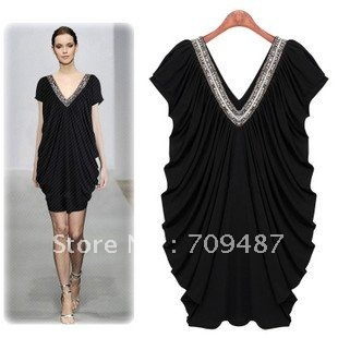 2012 Summer Flora solid color hand- beaded V Collar dress bud skirt Large size thin dress