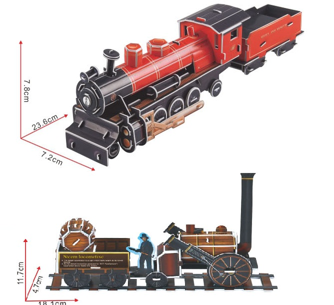 Candice guo 3D puzzle DIY toy paper building model assemble hand work wright flyer ford Vintage car Steam locomotive train 1pc