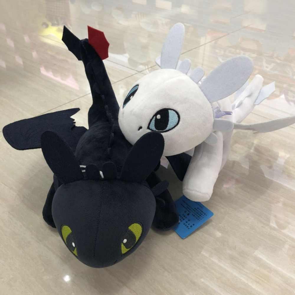 Brinquedos dragão fúria da noite 25 cm-30 cm Desdentado Fúria da Noite Plush Como Treinar O Seu Dragão brinquedos de pelúcia luz boneca de fúria