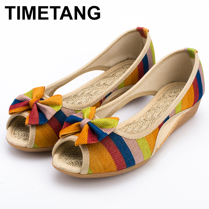 TIMETANG New High Quality Adult Women Sandals Casual Canvas Cloth Lady Toe Slip on Women Shoes High Heel 3 Colors Optional C198 2017 shoes women med heels tassel slip on women pumps solid round toe high quality loafers preppy style lady casual shoes 17