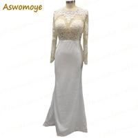 100% Real Photo Wedding Dress 2018 Full Sleeve Illusion Sheath Bridal Gowns Custom Made Plus Size Backless vestido de noiva