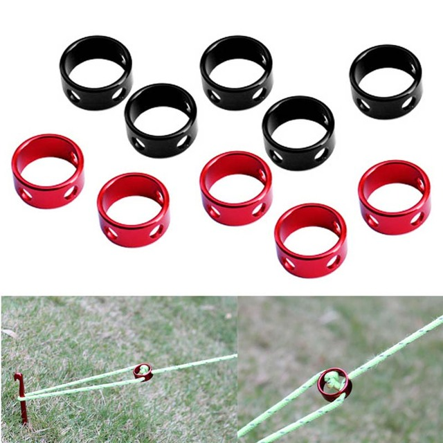 10pcs/Lot Tent Wind Rope Round Regulating Buckle Camping Cord Tensioners Outdoor Adjustable Length Fixing Ring Tent Accessories
