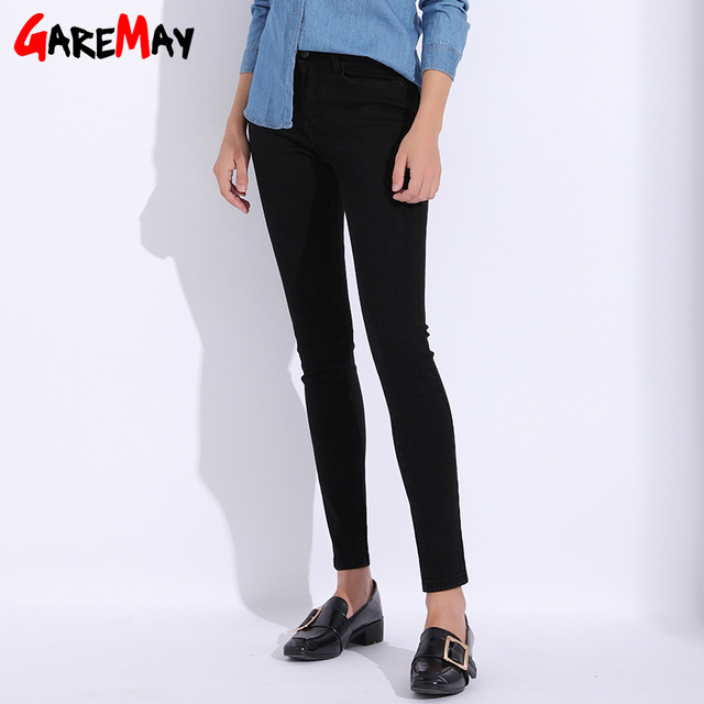 Garemay Black Jeans Female Plus Size Skinny Pencil Casual Women's Pants 2019 Jeans Women With High Waist Stretch Jean Femme