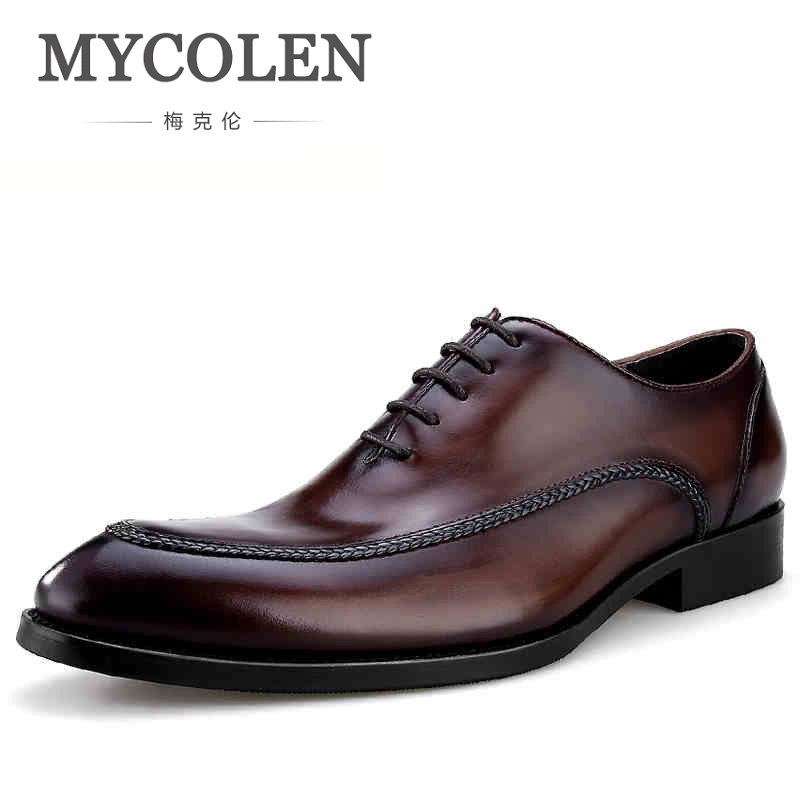 MYCOLEN Handmade Genuine Leather Formal Shoes Men Luxury Wedding Derby Shoes Pointed Toe Gentlemen Shoes Zapatillas De Hombre цена