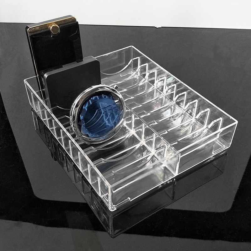 Transparent Acrylic Powder Cake Display Stand Case Jewelry Box Makeup Organizer Cosmetic 20 Slots Storage Holder