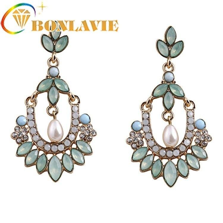 Pendientes Elegant Flower Drop Earrings Simulated Pearl Crystal Statement Drop Earrings For Women Dangle Earrings Brincos femme