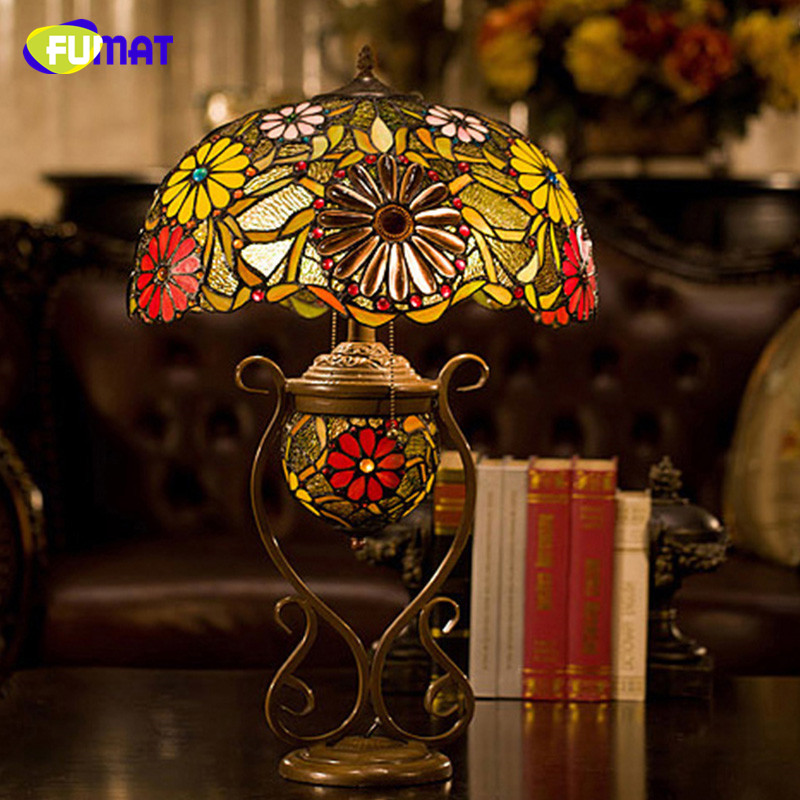 FUMAT Glass Art Table Lamp Luxury Sunflower Stained Glass Tiffany Lamp For Living Room Bedside Stand Hotel Decor Light Fixtures