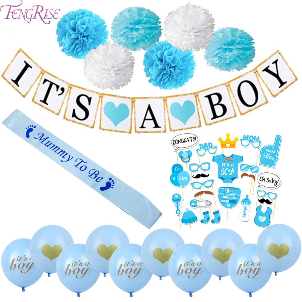 FENGRISE Pacifiers Baby Shower Banner Its A Boy Girl Blue Pink 1st Birthday Balloons 1 Anniverssary Photo Booth Party Supplies