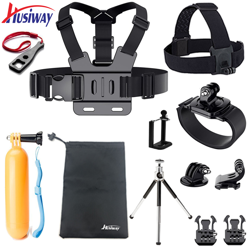 Husiway accessories Set for Gopro case Chest Belt Head Mount Strap for Go pro hero5 Hero 4 3 2 / EKEN / SJ5000X kit 10A