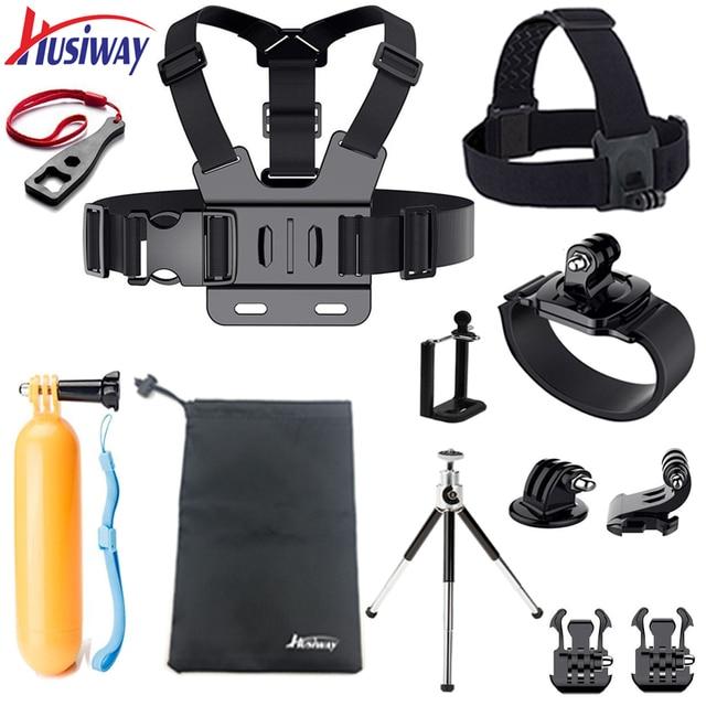 Husiway accessories Set for Gopro case Chest Belt Head Mount Strap for Go pro hero5 Hero 4 3 2 / EKEN / SJ5000X kit 10A