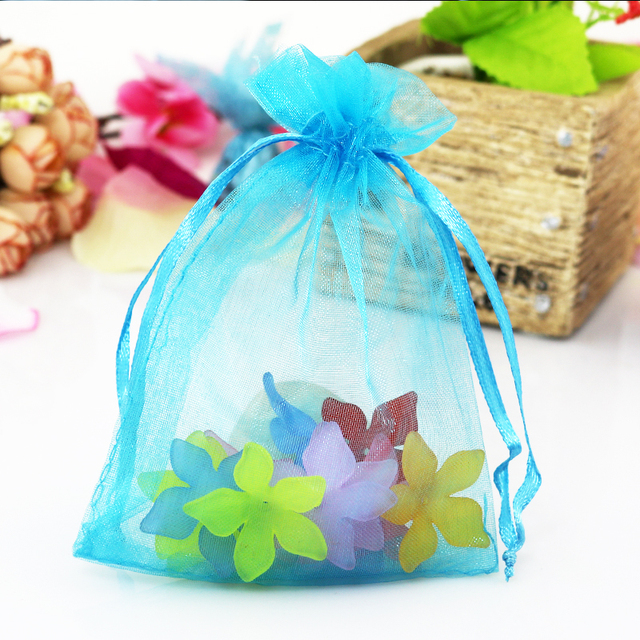 Large Organza Bags 50pcs Lot 30x40cm Lake Blue Plain Solid Jewelry Gift Toys Cosmetic Clothes
