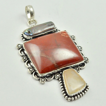 Red Jaspers & Botswana Agates  Pendant Silver Overlay over Copper , 70 mm, P3101