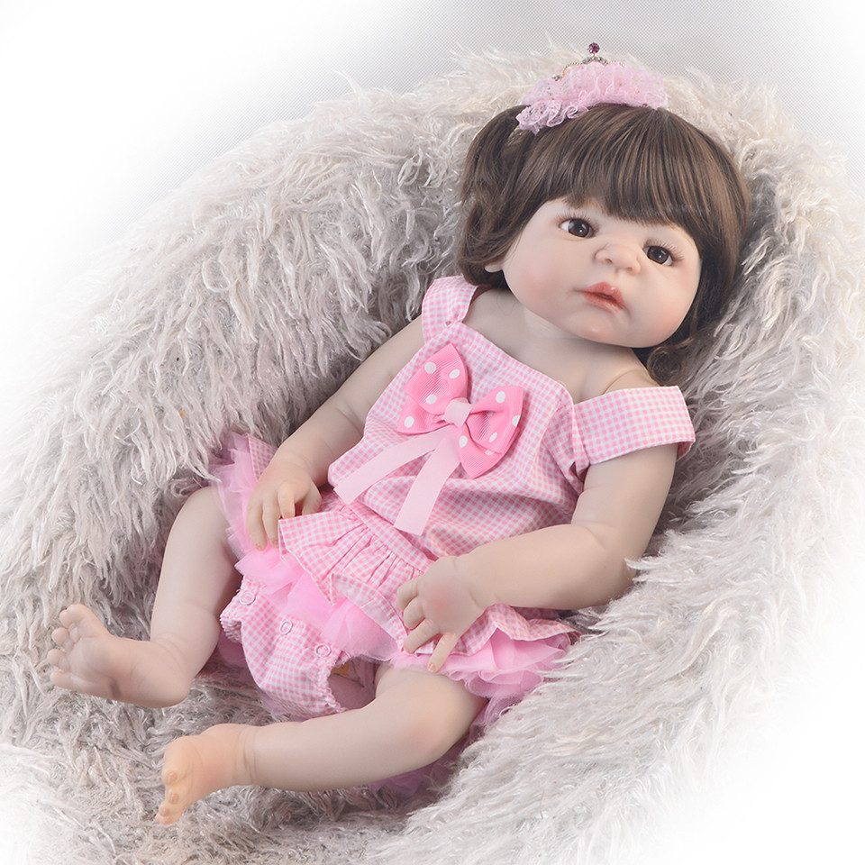 New Arrival 23 Inch Reborn Alive Doll Full Body Silicone 57 cm Realistic Baby Dolls Toy For Girl Kids Birthday Gift Bedtime Play цена