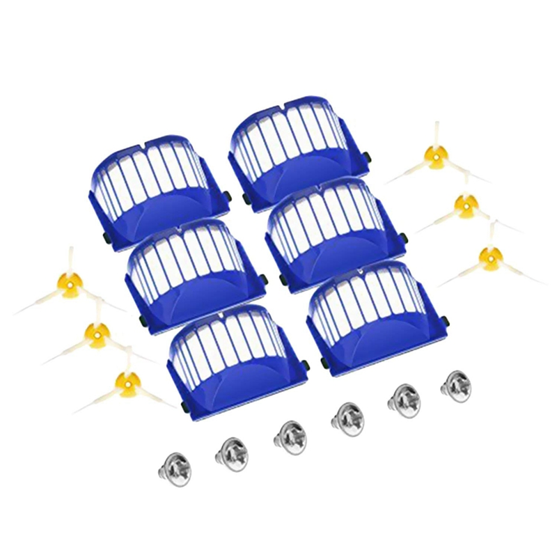 Filters Side Brushes Screws Replacement Kit Parts Set for iRobot Roomba 600 Series Vacuum Cleaner Robots 610 620 627 630 650 image
