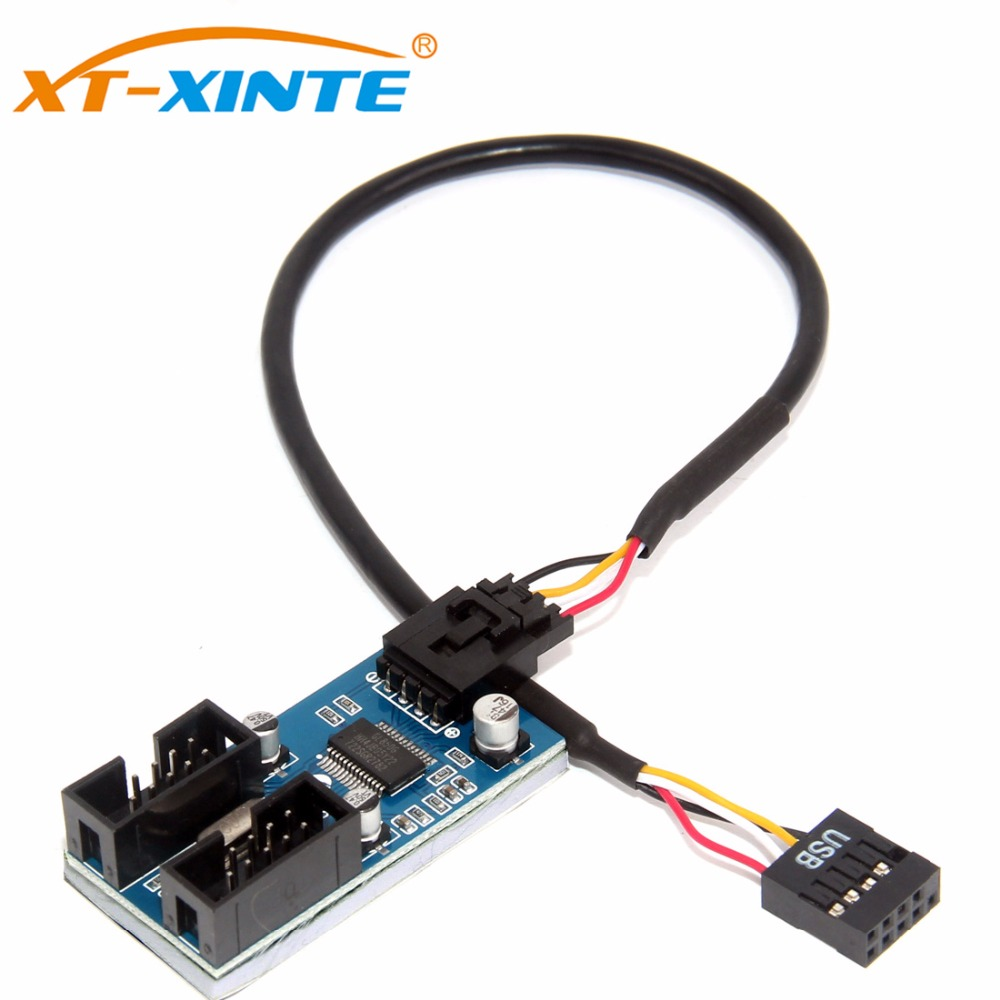 XT-XINTE 9pin USB Header Male 1 To 2/4 Female Extension Cable Card Desktop 9-Pin USB HUB USB 2.0 9 Pin Connector Port Multiplier
