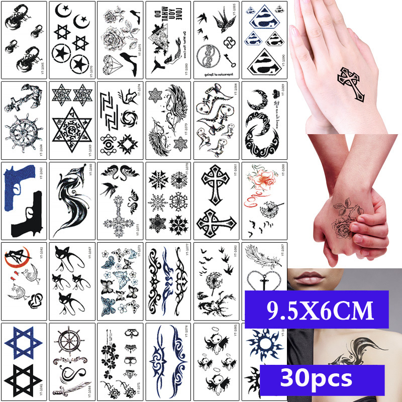 30pcs/set Sexy Temporary Tattoo Sticker Body Art Alphabet Crown Flower Small Pattern Design Waterproof Fake Tatoo For Men Women