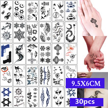 30pcs/set Sexy Temporary Tattoo Sticker Body Art Alphabet Crown Flower Small Pattern Design Waterproof Fake Tatoo for Men Women(China)