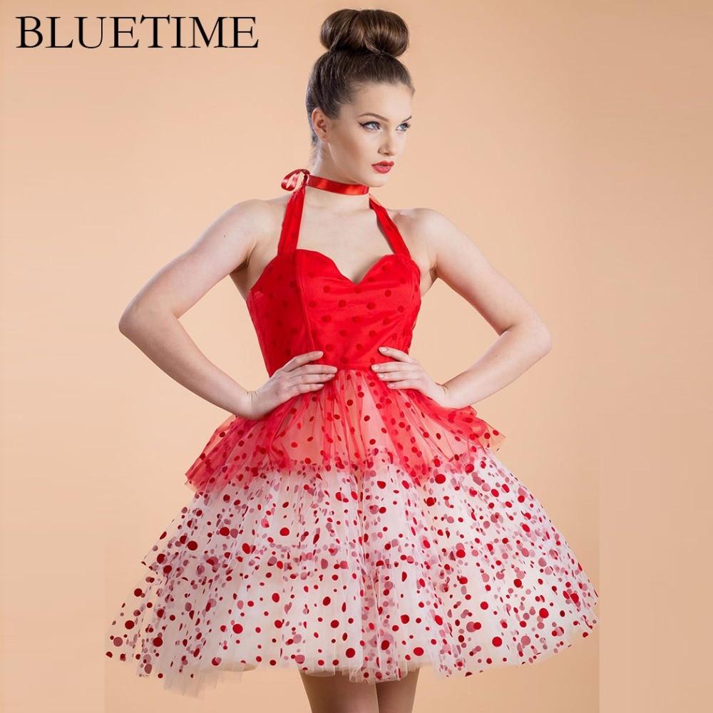 ①Las mujeres de bluetime vestido atractivo retro cintura alta Polka ...