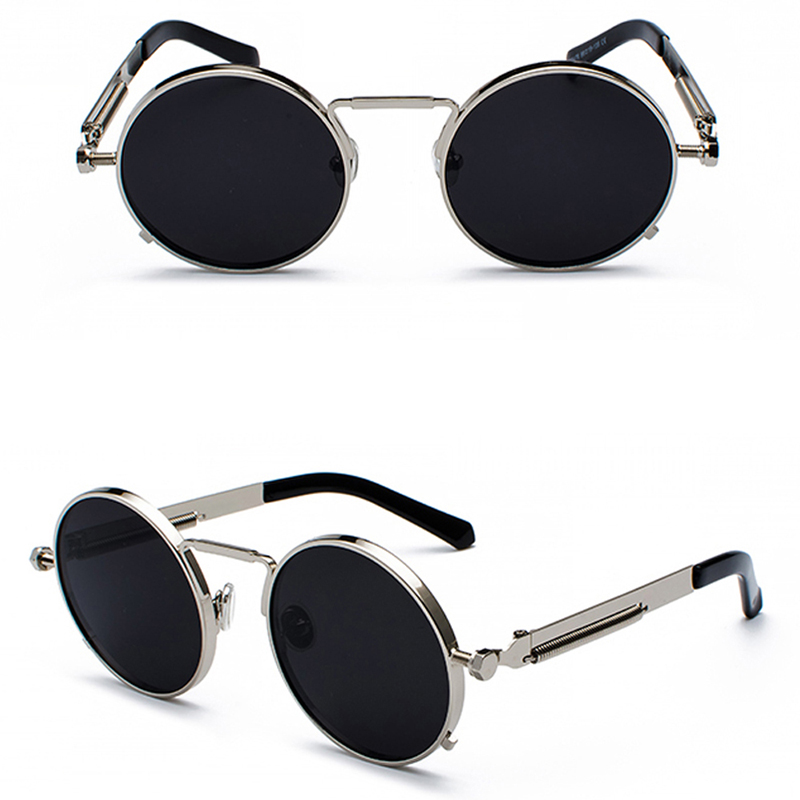 Peekaboo clear red sunglasses men steampunk 2019 metal frame retro vintage round sun glasses for women black uv400