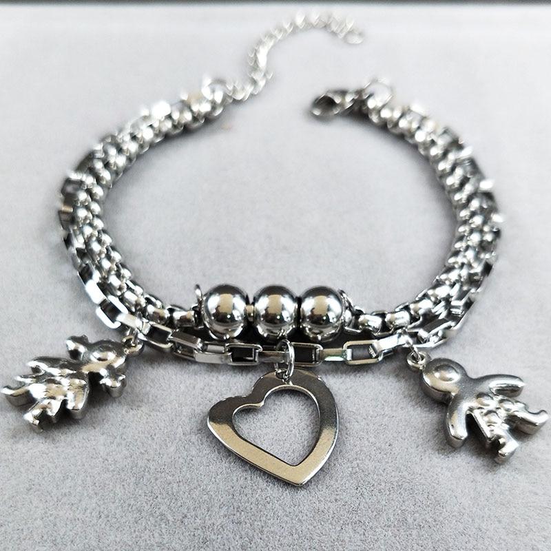 2019 Doppel Jungen und Mädchen Silber Farbe Edelstahl Armband für - Modeschmuck - Foto 5