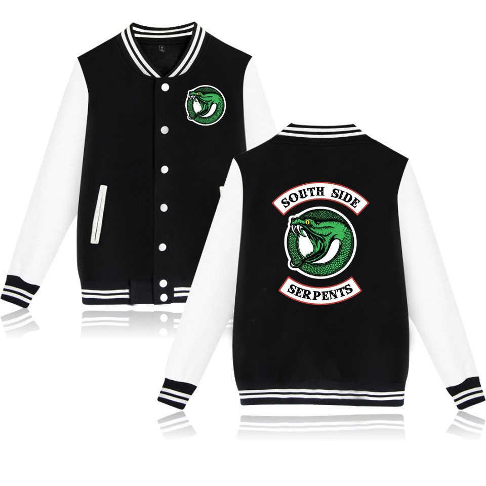 Riverdale Hot TV Show SOUTH SIDE SERPENTS Baseball Jackets Couple's Fashion New Print Snake Autumn Winter Coats Jackets White