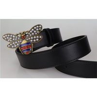 Top Fashion Women Men diamond Beading Bee Buckle Belts Vintage Split Leather Floral Printed cute Waistbands leather belt