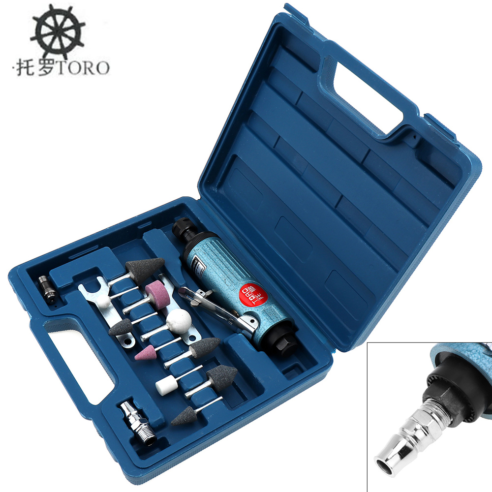 TORO 1/4 Inch Large Pneumatic Grinding Machine Mold Air Compressor Die Grinder Power Tools with 14pcs Rotary Tool Kit