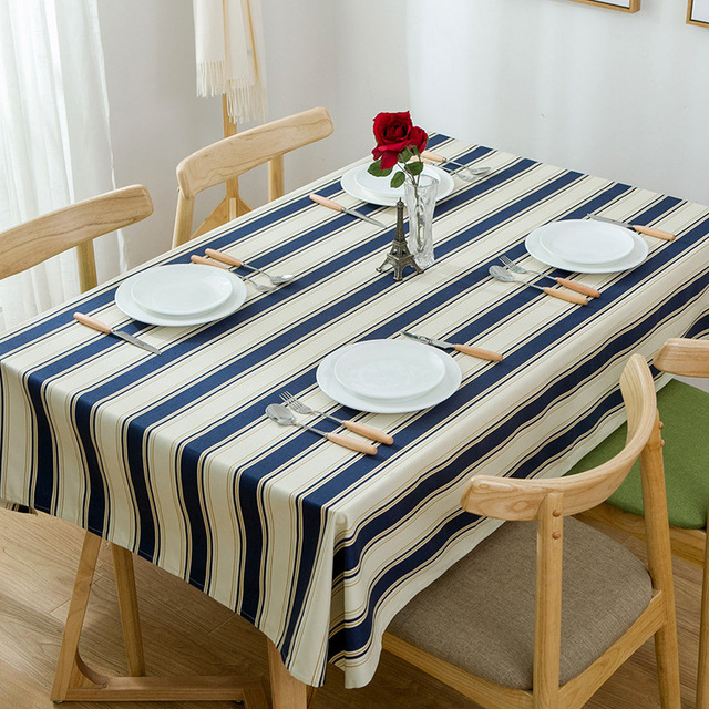 Modern Simple Cotton Canvas Thick Blue Striped Tea Table Cloth High Quality  Household Restaurant Decorative Tablecloths