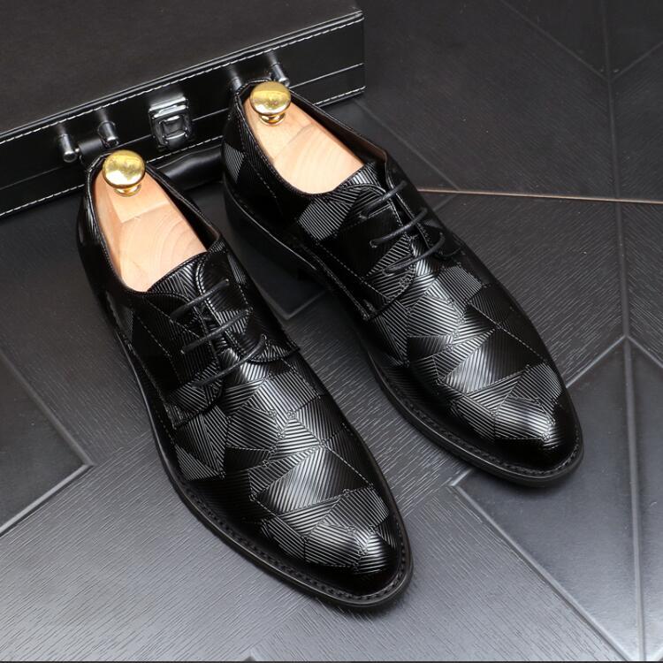 Hommes robe chaussures motifs géométriques motif hommes chaussures formelles en cuir de luxe mode marié mariage chaussures hommes Oxford chaussures robe