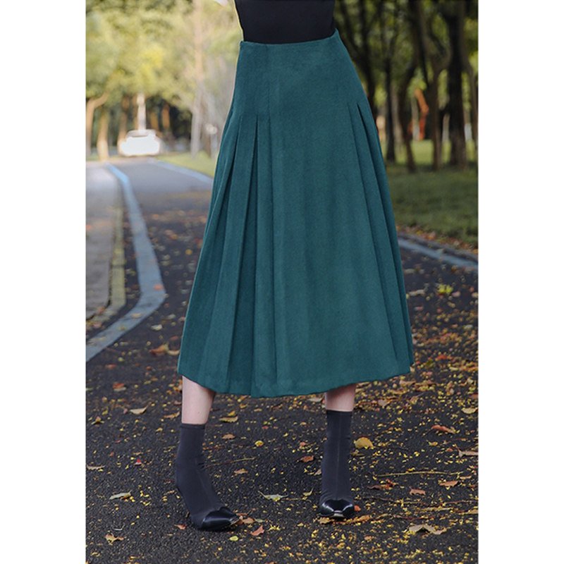 England style vintage blackish green wool skirt