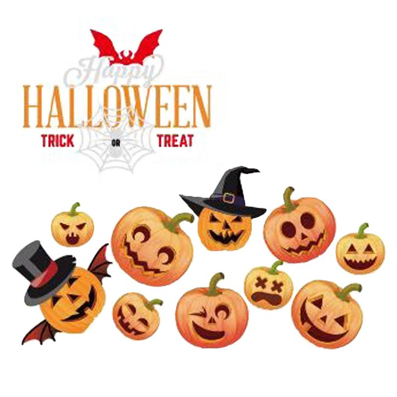 happy halloween pumpkins spooky cemetery witch and bats tomb wall decals window stickers halloween decorations - Halloween Decorations Bats
